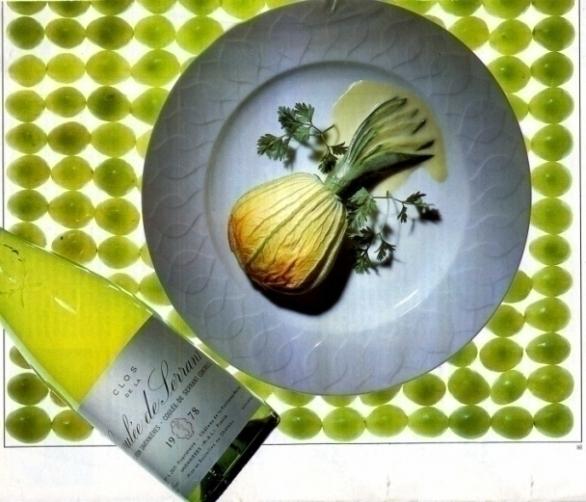 Les courgettes à la fleur et au saumon met de zeldzame witte wijn Coulée de Serrant 1978