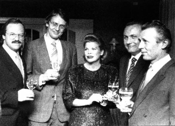 vlnr Heinz Winkler, Hubrecht Duijker, Ine Droogh-Goossens, Angelo Gaja en Joop Droogh