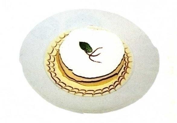 Tuilles met een parfait van vijgen met een vanillesaus