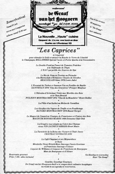menu Les Caprices