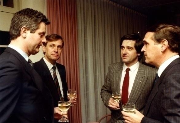 vlnr Eric Sauter, Wulf Engel, Jan van Lissum en Louis Kat