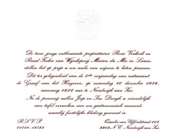uitnodiging 8 jarig bestaan resuarant De Graaf van het Hoogveen