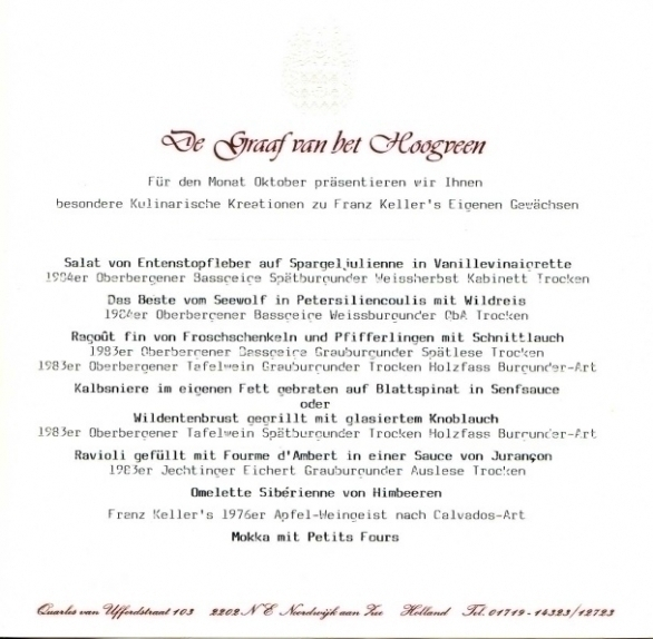 Franz Keller menu