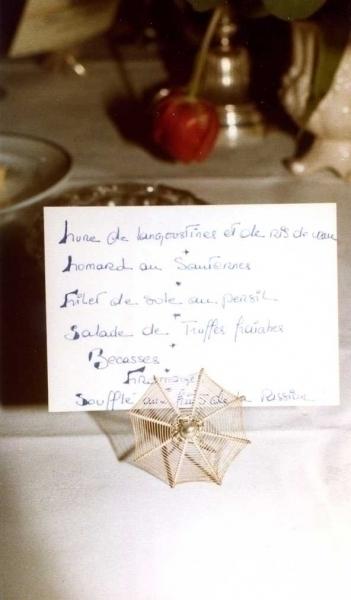 menukaartje diner bij Gérard Pangaud