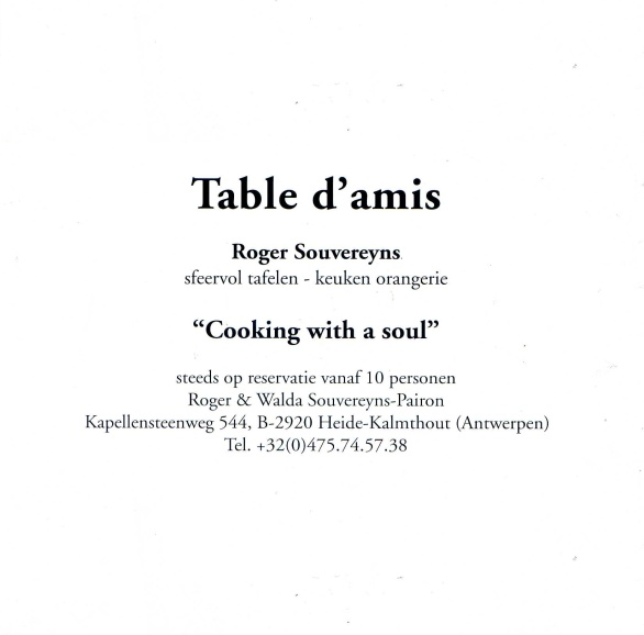 Roger Souvereyns | Table d'amis vanaf 10 personen