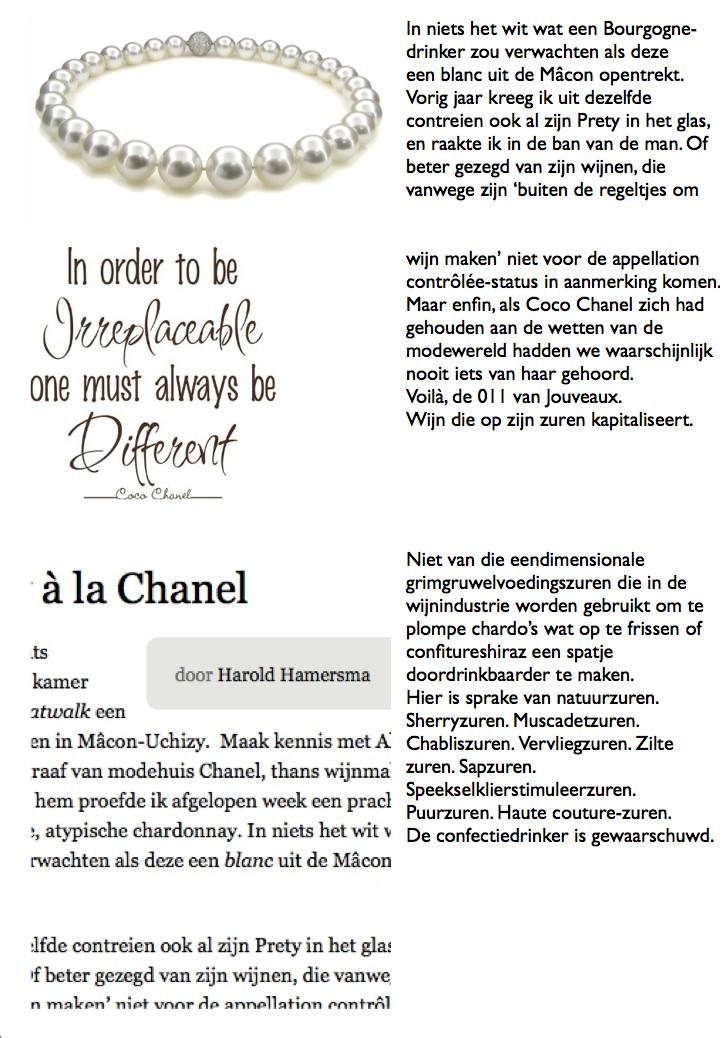 Harold Hamersma in NRC- Chardonnay a la Chanel